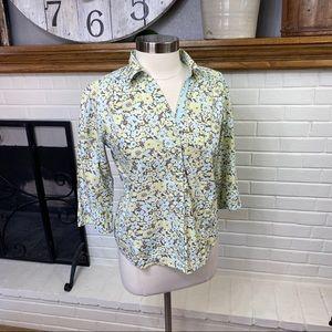 Eddie Bauer floral button down 3/4 sleeve size M